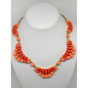 J. Crew Bright Orange Coral Necklace